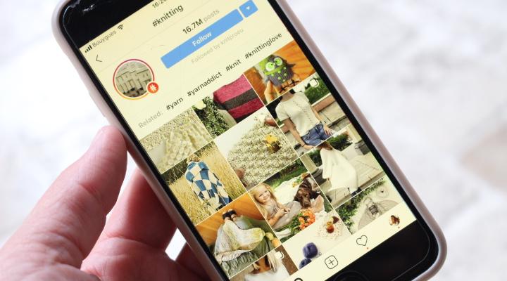 page de recherche du mont knitting sur instagram