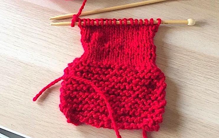 le résultat après mon premier atelier tricot
